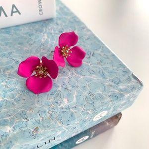 Pink Flower Statement Earrings